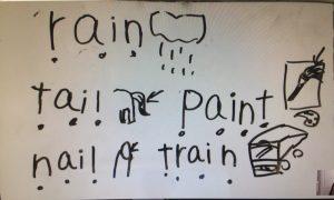 読み書き困難のある小5児童が書いた単語。